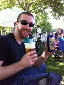 Charlie drinks a Gansett Summer while watching the Providence Kickball League